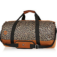 Brown MiPac leopard print duffle bag
