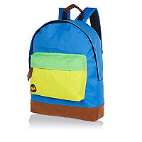 Blue MiPac tri-tone colour block backpack