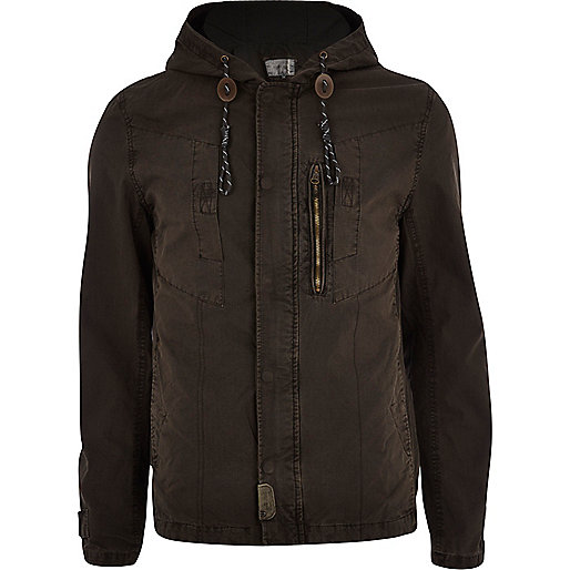 Dark khaki casual bomber jacket