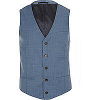 Blue cross hatch single breasted waistcoat