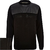 Black leather-look yoke cable knit jumper