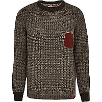Grey Holloway Road contrast pocket jumper