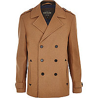 Camel smart double breasted pea coat