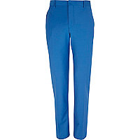 Bright blue wool-blend skinny suit trousers