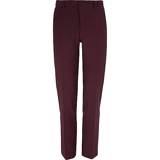 Dark red wool-blend skinny suit trousers