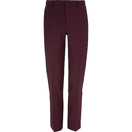 Dark red wool-blend skinny suit pants