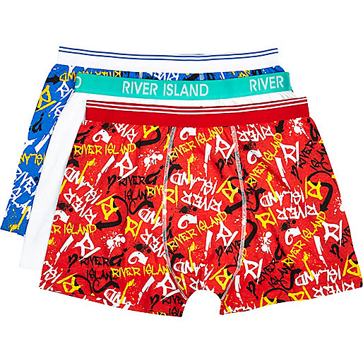 Mixed graffiti print boxer shorts pack