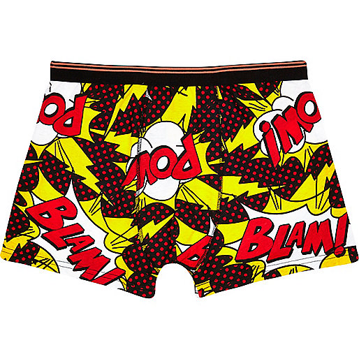 Black comic pow print boxer shorts