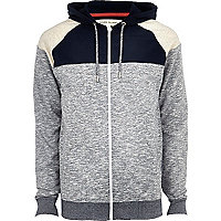 Grey contrast colour block yoke hoodie