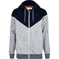 Grey chevron colour block hoodie