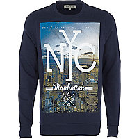 Navy NYC print sweatshirt