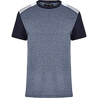 Grey colour block shoulder t-shirt