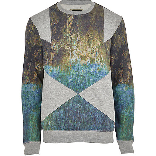 Grey Holloway Road scenic panel sweatshirt