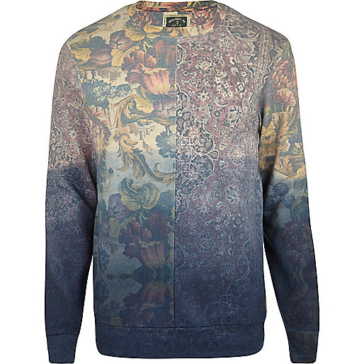 Blue Holloway Road floral ombre sweatshirt