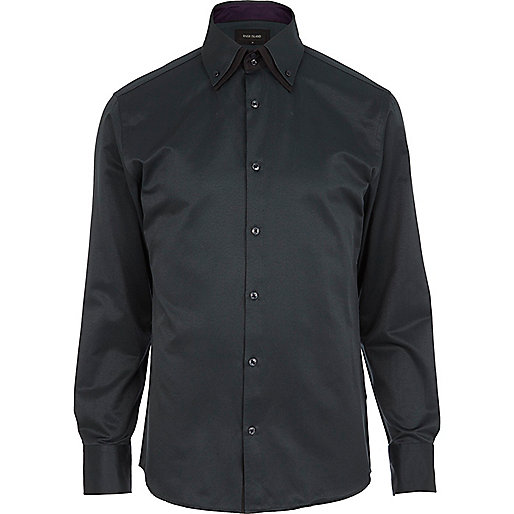 Dark green double collar shirt