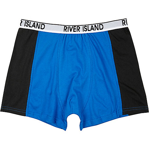 Blue colour block boxer shorts