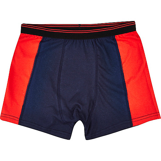 Red colour block boxer shorts
