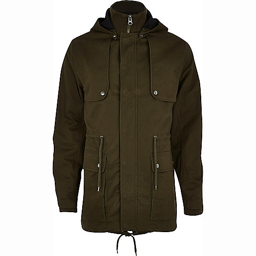 Khaki green smart parka jacket