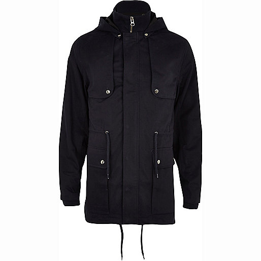 Navy blue smart parka jacket