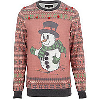 Red Snowman fair isle pom pom sweatshirt