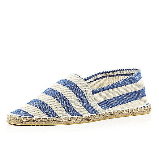 Navy  stripe canvas espadrilles