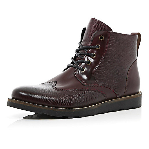 Dark red snake textured brogue boots