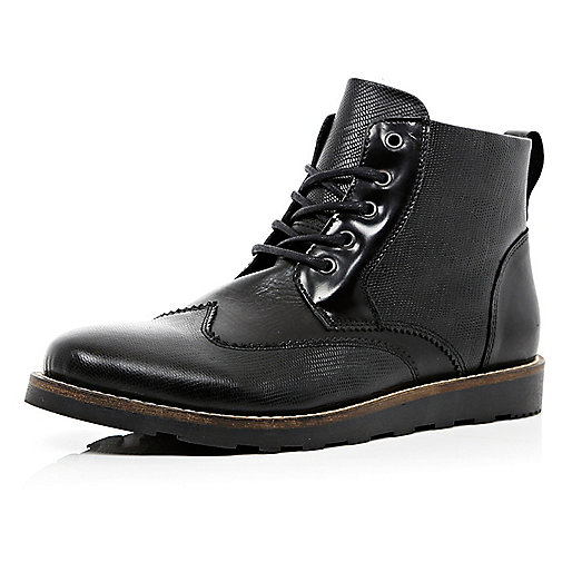 Black snake textured brogue boots