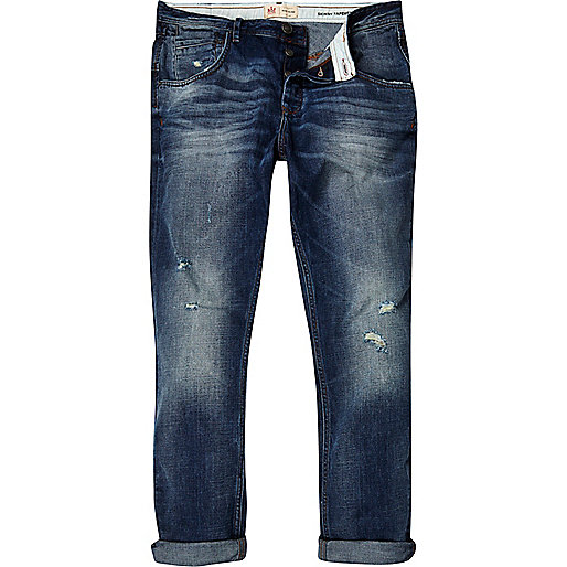 Mid wash ripped Chester tapered jeans