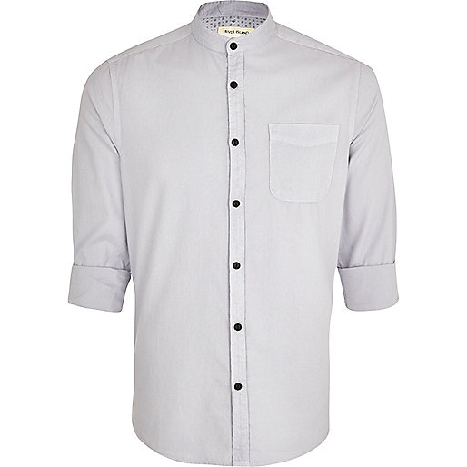 Light grey grandad collar shirt