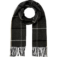 Dark grey brushed tartan scarf