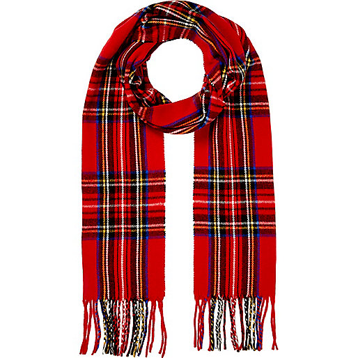 Red tartan brushed scarf