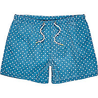 Teal polka dot print short swim shorts