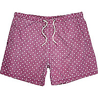 Purple polka dot print short swim shorts