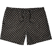 Black polka dot short swim shorts