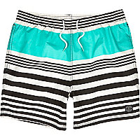 White breton stripe mid length swim shorts