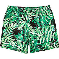 Green fern print short swim shorts