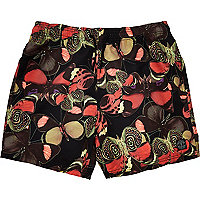 Black moth print short swim shorts