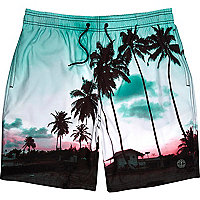 Green palm tree print mid length swim shorts