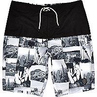 Black photo collage print long swim shorts