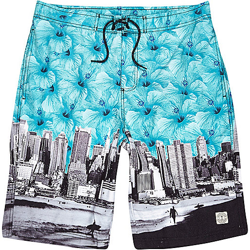 Turquoise floral city print long swim shorts