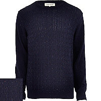 Blue neppy cable knit jumper