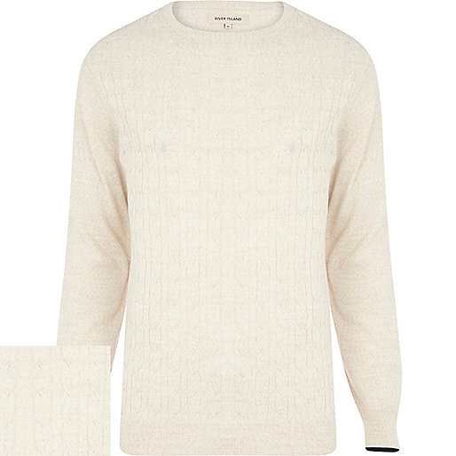 Ecru tipped cuff cable knit jumper
