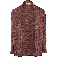 Dark red twist knit unfastened cardigan