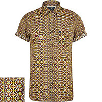 Brown Holloway Road geometric print shirt