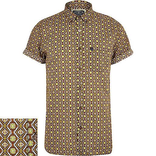Brown Holloway Road geometric print shirt