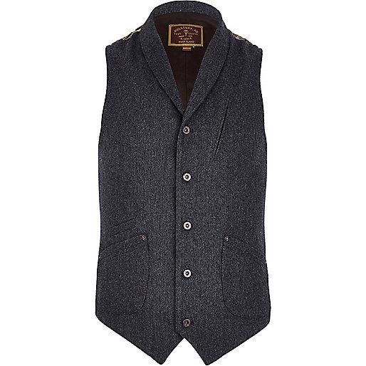 Navy Holloway Road back print waistcoat