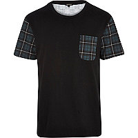 Black tartan colour block t-shirt