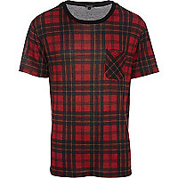 Red tartan crew neck t-shirt