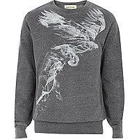Dark grey bird smoke print sweatshirt