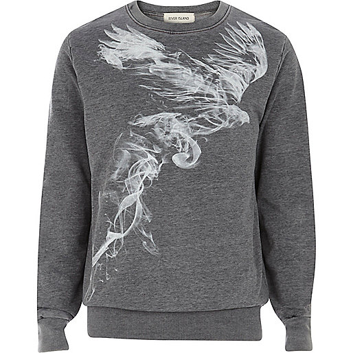 Dark grey bird smoke print sweatshirt